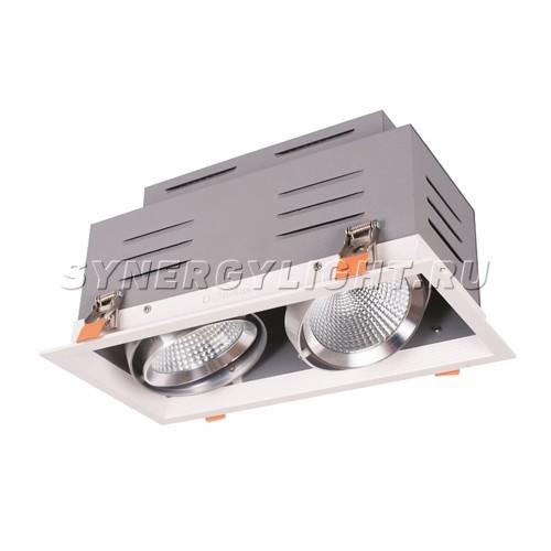 Встраиваемый карданный двойной светильник 160*320*163 мм , LED 2*15W 3000K 2460lm 60° Белый